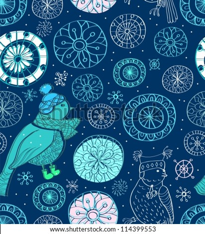 Seamless doodle background with snowflakes and birds, vector