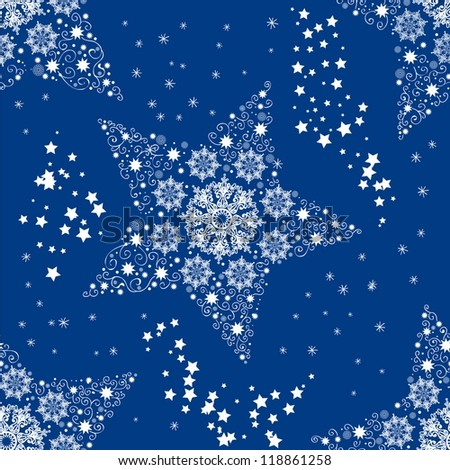 Seamless doodle background with star, illustration, vector