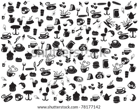 seamless doodle coffee and tea patterns