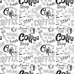 seamless doodle coffee pattern on white  background ,hand drawn vector illustration