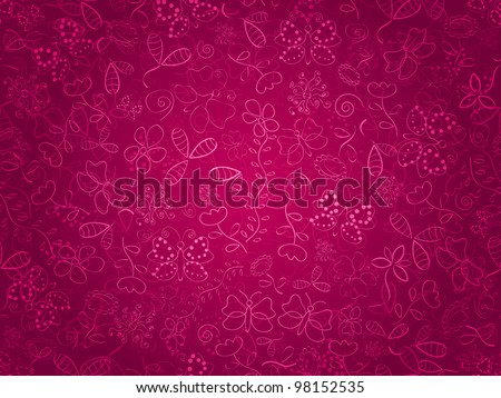 Seamless doodle floral pattern. Background with flower and butterflies on pink backdrop. EPS8