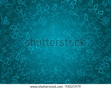 Seamless doodle floral texture. Background with flower and butterflies on blue backdrop. EPS8