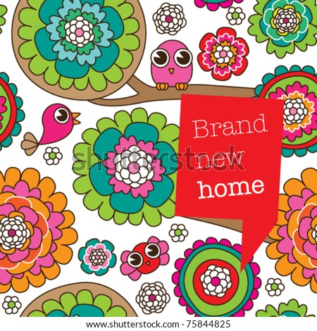Seamless doodle flowers and birds card design background pattern in vector