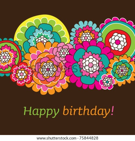 Seamless Doodle Flowers Birthday Card Design Background