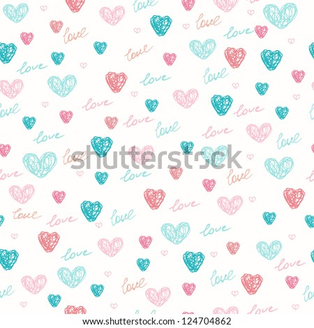 Seamless doodle hand drawn pattern with hearts. Romantic endless childish texture. Template for design and decoration