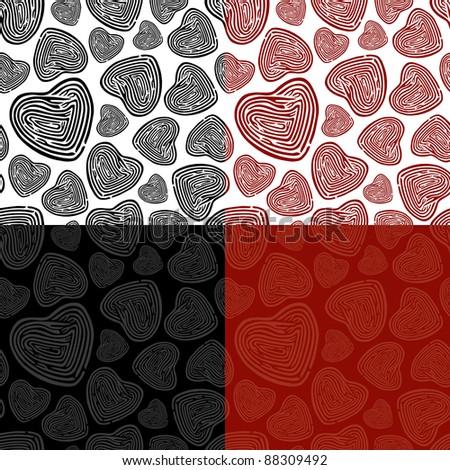 Seamless Doodle Heart Pattern