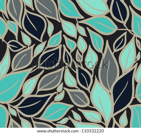 Seamless doodle leaves pattern.