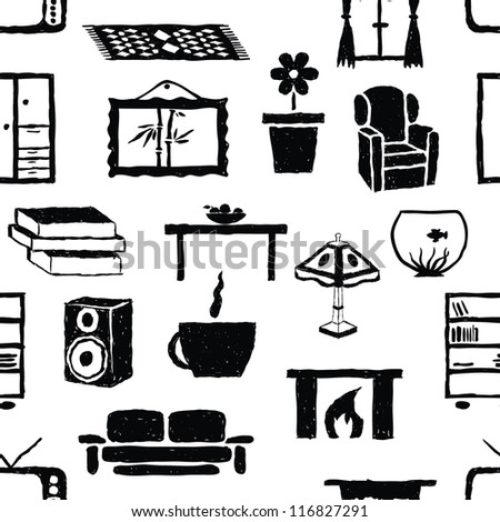 seamless doodle living room pattern
