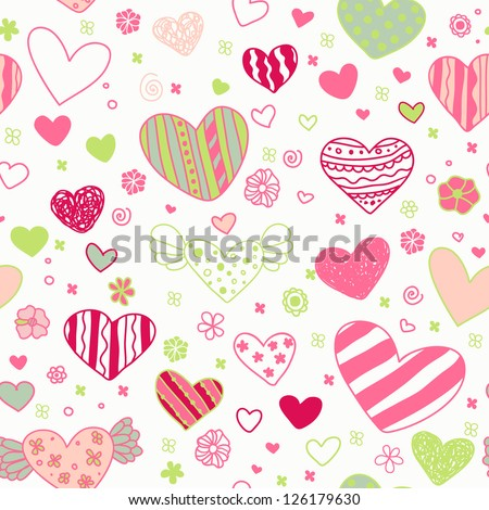 Seamless doodle ornate pattern with ornamental hearts and flowers. Endless cute colorful texture, template for design textile, wrapping paper, package, backgrounds