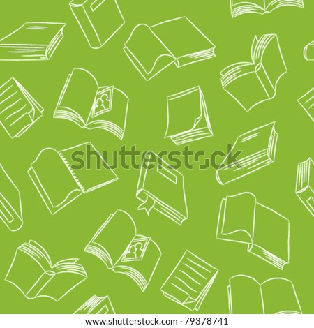 Seamless Doodle Pattern - Books - stock vector