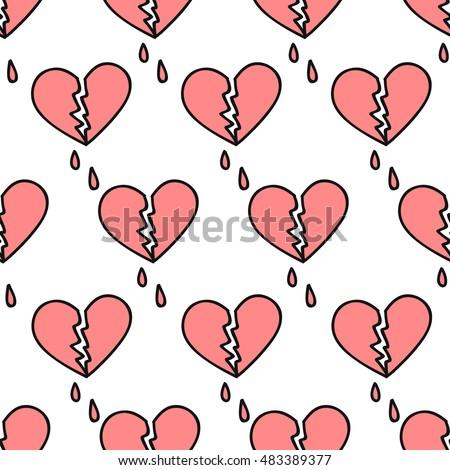 seamless doodle pattern broken