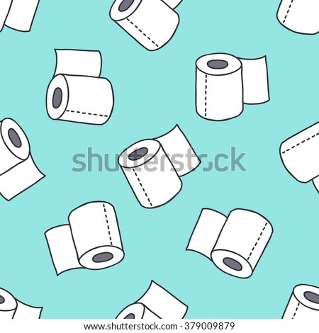 seamless doodle pattern. toilet paper. vector illustration