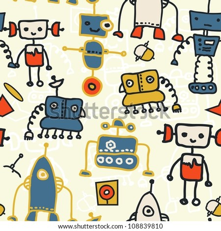 seamless doodle pattern with colorful robots