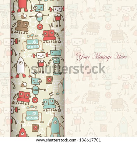 seamless doodle pattern with colorful robots and blank paper for your greeting (eps10)