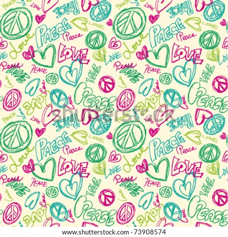 seamless doodle peace love words repeat