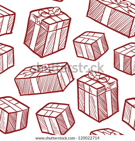 Seamless doodle style Christmas or holiday presents vector background. Ready to be tiled.