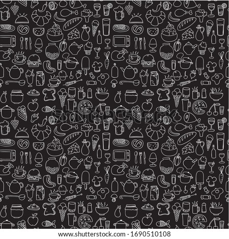 Seamless doodle vector pattern of food