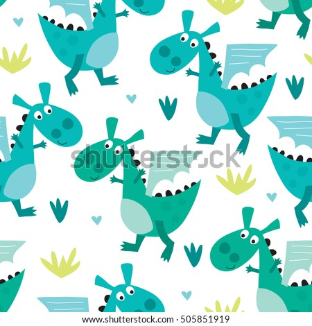 seamless dragon pattern vector