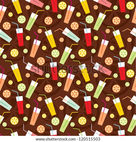 Seamless drinks pattern. vector