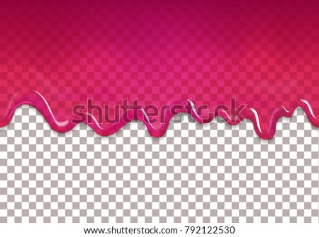 Seamless dripping sweet cranberry jam. Vector purple syrup transparent background