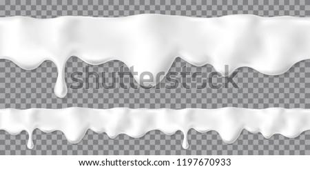 Seamless dripping white cream or yoghurt drops. Vector paint stain or yogurt splash illustration for background design. Realistic milk horizontal border. Mayonnaise repeatable blobs
