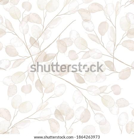 Seamless dry lunaria floral vector pattern. Watercolor winter wedding flower illustration background. Boho design printable template, minimal botanical rustic textile decoration