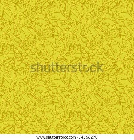 Seamless duotone pattern with hand-drawn chrysanthemum flower
