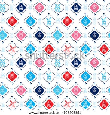 Seamless dutch windmill holland background pattern in vector