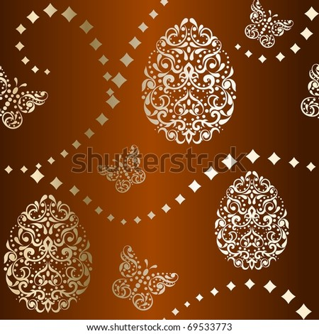 Seamless Easter background in brown and gold (Eps10); jpg version also available - stock vector
