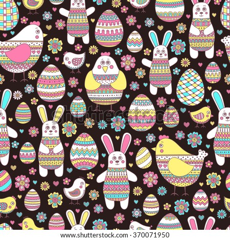 Seamless easter pattern with doodle elements. Bunny, eggs, hen, chicken with hand drawn doodle ornament. Cute background for kids design.