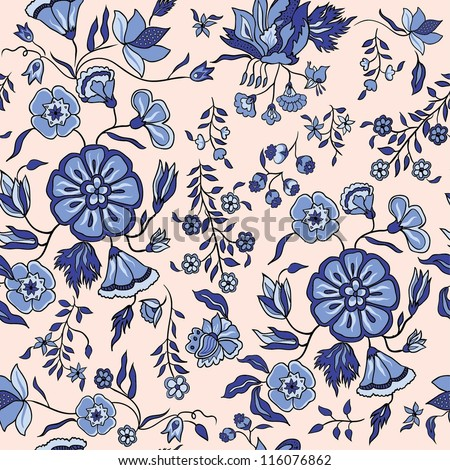 seamless eastern pattern with and flowers