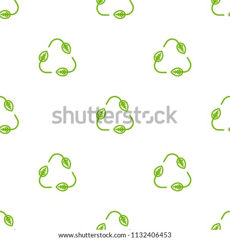 Seamless eco pattern. Three arrows with leaves eco recycle. reuse ornament on white background. Green flat vector wallpaper. Leaf ecology circle symbol