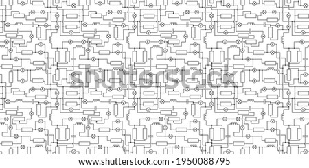 seamless electronic scheme with lamps, resistors and induction coils Stock photo ©