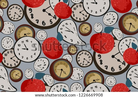 Seamless elegant abstract pattern with red apples and clock on light gray background. Hand drawn fruit and dial of the watch. Wonderland. Vector illustration in retro, vintage style.