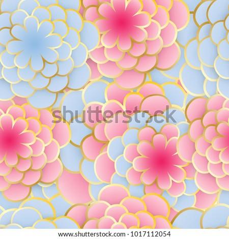 Seamless elegant nature background. Floral pattern with stylized summer 3d flowers. Floral stylish modern wallpaper. Paper art design, golden lines. Vector illustration