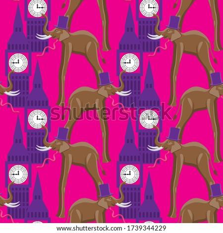 seamless elephant pattern in