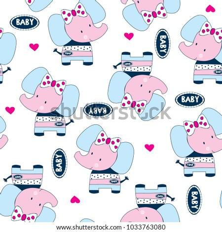 seamless elephant pattern vector