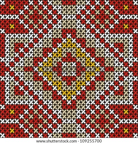 Seamless embroidered good like handmade cross-stitch ethnic pattern