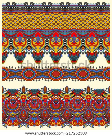 seamless ethnic floral paisley stripe pattern, border set, ukrainian tribal ornament for print or embroidery ribbon, or for the design of polygraphy or web