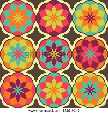 Seamless  ethnic flower color pattern background