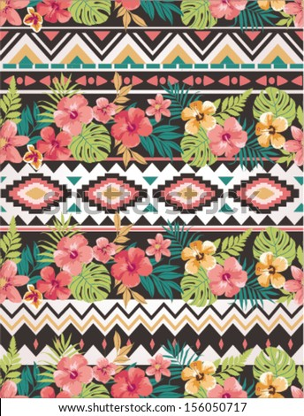 seamless ethnic mix  tropical flower seamless vector pattern background