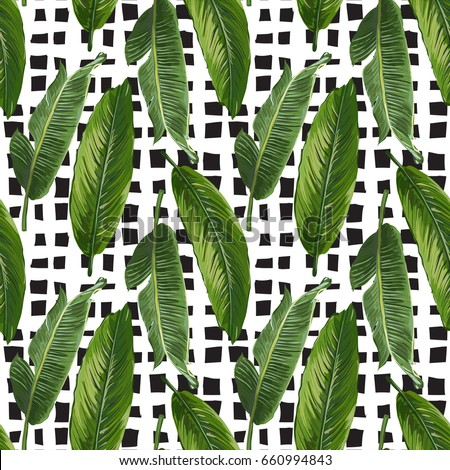 seamless exotic leaves pattern