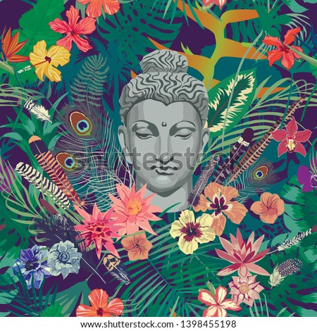 Seamless exotic pattern with Buddha head, flowers, feathers, leaves