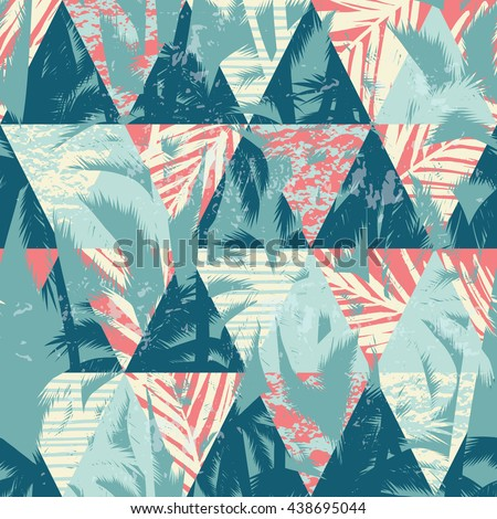 Seamless exotic pattern with palm leaves on geometric background. Vector illustration