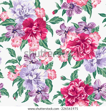 Seamless exotic pattern with tropical leaves and flowers on a white background.  Vector illustration.