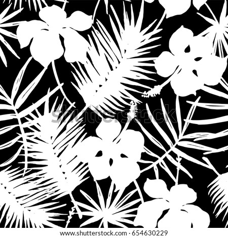 Seamless exotic pattern with tropical leaves and flowers. Vector hand draw background.