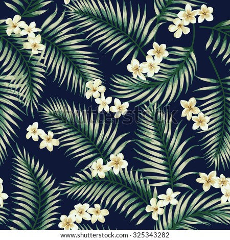 Seamless exotic pattern with tropical leaves and flowers. Vector illustration.