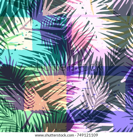 Seamless exotic pattern with tropical palm in bright color. Vector hand drawn texture. #749121109