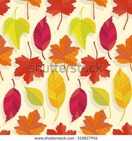 seamless fallen leaves pattern