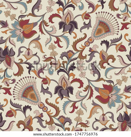 seamless   fantastic floral pattern on background Stock photo ©